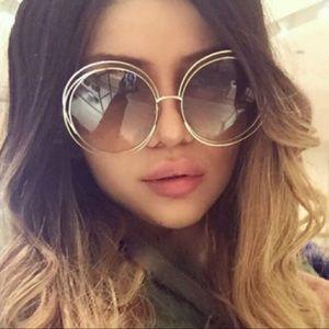 Chloe Carlina Sunglasses, gold brown gradient lens